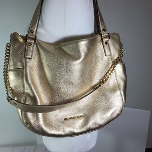 Michael Kors Gold Chandler Metallic Leather Bag